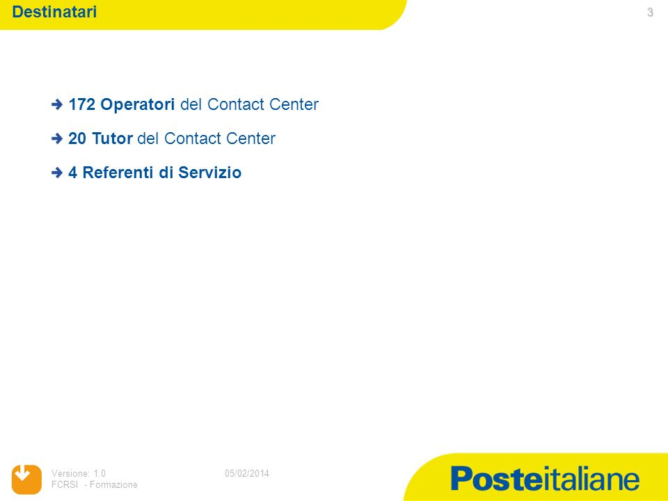 05/02/2014 Versione: 1.0 FCRSI - Formazione Destinatari 3 05/02/2014 172 Operatori del Contact Center 20 Tutor del Contact Center 4 Referenti di Servi