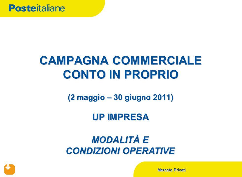 Mercato Privati CAMPAGNA COMMERCIALE CONTO IN PROPRIO (2 maggio – 30 giugno 2011) UP IMPRESA MODALITÀ E CONDIZIONI OPERATIVE