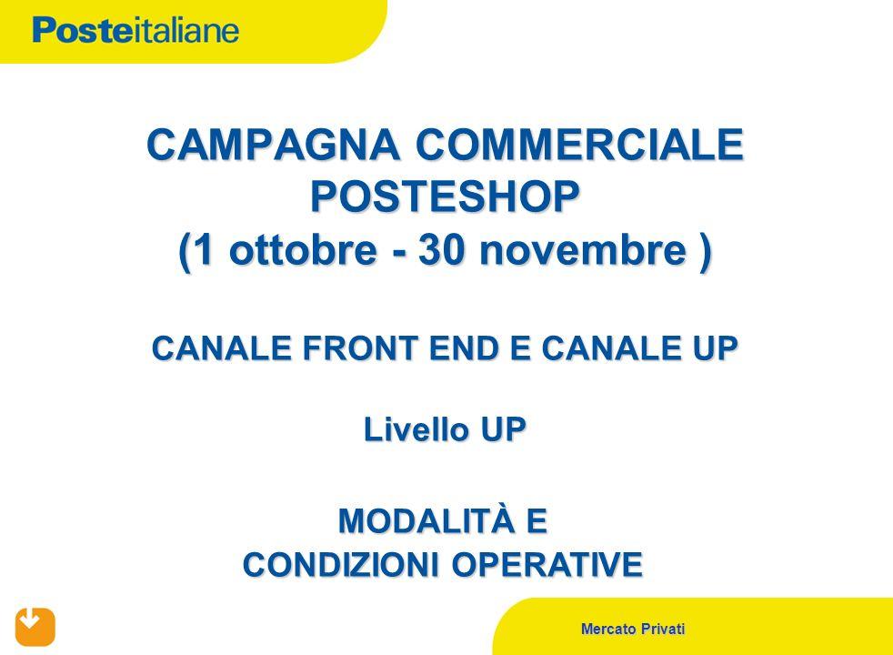 Mercato Privati CAMPAGNA COMMERCIALE POSTESHOP (1 ottobre - 30 novembre ) CANALE FRONT END E CANALE UP Livello UP MODALITÀ E CONDIZIONI OPERATIVE