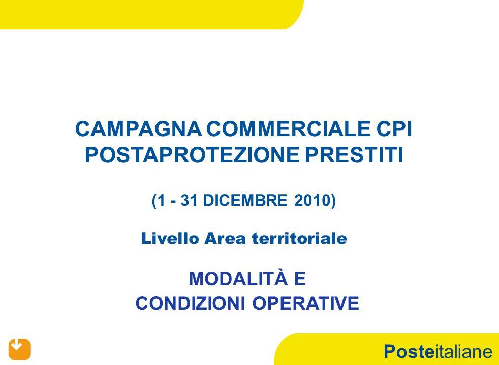 Posteitaliane PREMESSA PRODOTTI: CPI POSTAPROTEZIONE PRESTITI PERIODO: 1– 31 DICEMBRE 2010 FIGURE COINVOLTE LIVELLO AREA TERRITORIALE: REFERENTI DI COMPARTO ASSICURATIVO REFERENTI METODOLOGIE DI CANALE FINANZIARIO REFERENTI METODOLOGIE DI CANALE FINANZIAMENTI REFERENTI DI COMPARTO FINANZIAMENTI