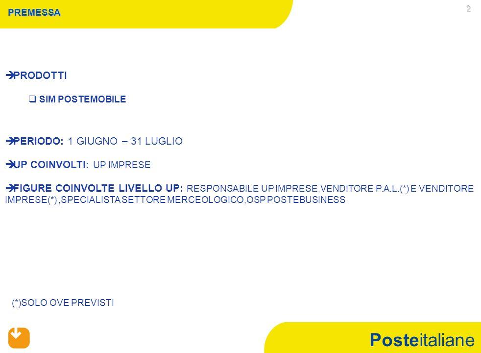 Posteitaliane 3 CAMPAGNA COMMERCIALE SIM POSTEMOBILE CONDIZIONE DI ACCESSO A LIVELLO ITALIA RAGGIUNGIMENTO DEL 93% DELLOBIETTIVO ITALIA A VOLUMI SIM CARD VENDUTE DEL PERIODO GIUGNO-LUGLIO (OFFERTA IMPRESE) INCIDENZA DELLE SIM CARD VENDUTE CON RICHIESTA DI MOBILE NUMBER PORTABILITY (MNP) NEL PERIODO GIUGNO-LUGLIO SUL TOTALE SIM CARD VENDUTE NELLO STESSO PERIODO PARI AD ALMENO IL 65% (OFFERTA IMPRESE)