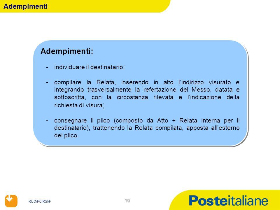 RUO/FCIRSI/F 10 Adempimenti Adempimenti: -individuare il destinatario; -compilare la Relata, inserendo in alto lindirizzo visurato e integrando trasve