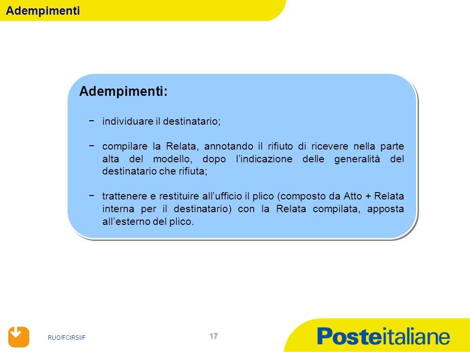 RUO/FCIRSI/F 17 Adempimenti Adempimenti: individuare il destinatario; compilare la Relata, annotando il rifiuto di ricevere nella parte alta del model