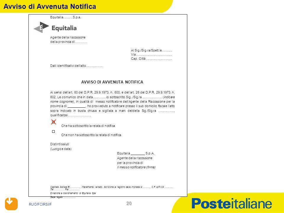 RUO/FCIRSI/F 20 Avviso di Avvenuta Notifica Equitalia………S.p.a. Agente della riscossione della provincia di………… Al Sig./Sig.ra/Spett.le ……… Via …………………