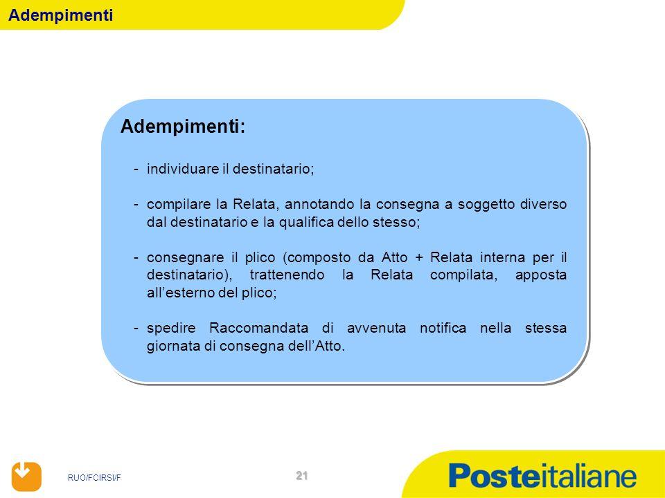 RUO/FCIRSI/F 21 Adempimenti Adempimenti: -individuare il destinatario; -compilare la Relata, annotando la consegna a soggetto diverso dal destinatario