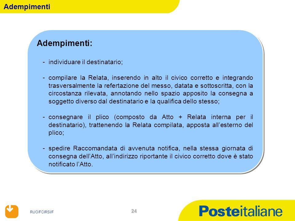 RUO/FCIRSI/F 24 Adempimenti Adempimenti: -individuare il destinatario; -compilare la Relata, inserendo in alto il civico corretto e integrando trasver