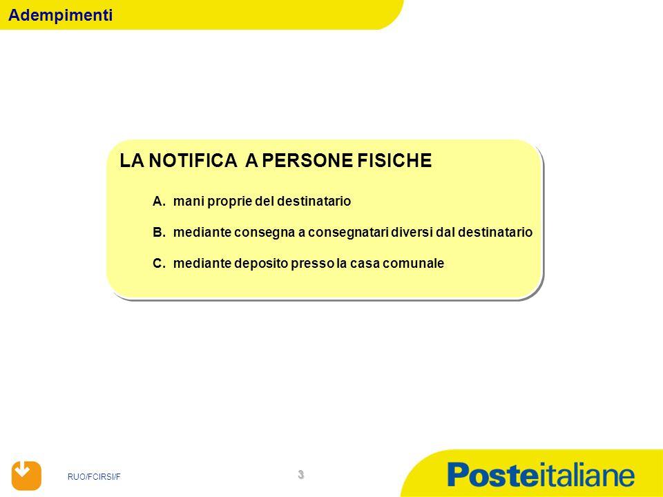 RUO/FCIRSI/F 4 LA NOTIFICA IN MANI PROPRIE DEL DESTINATARIO