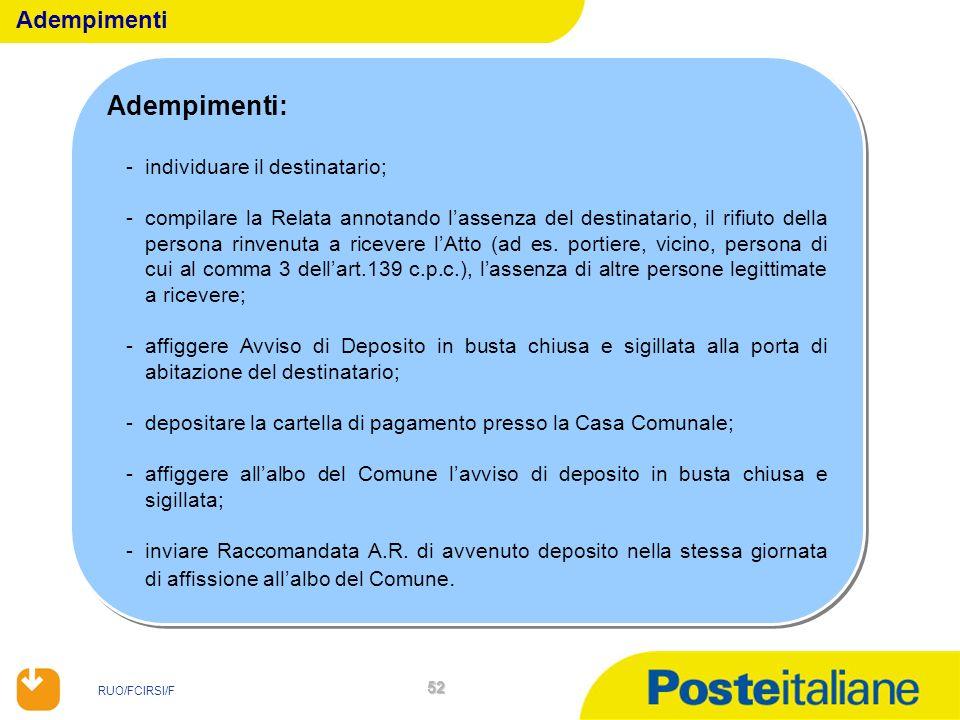 RUO/FCIRSI/F 52 Adempimenti: -individuare il destinatario; -compilare la Relata annotando lassenza del destinatario, il rifiuto della persona rinvenut