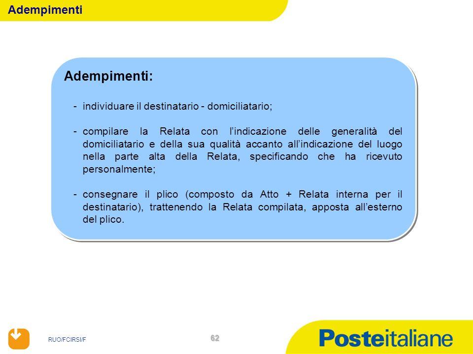 RUO/FCIRSI/F 62 Adempimenti: -individuare il destinatario - domiciliatario; -compilare la Relata con lindicazione delle generalità del domiciliatario
