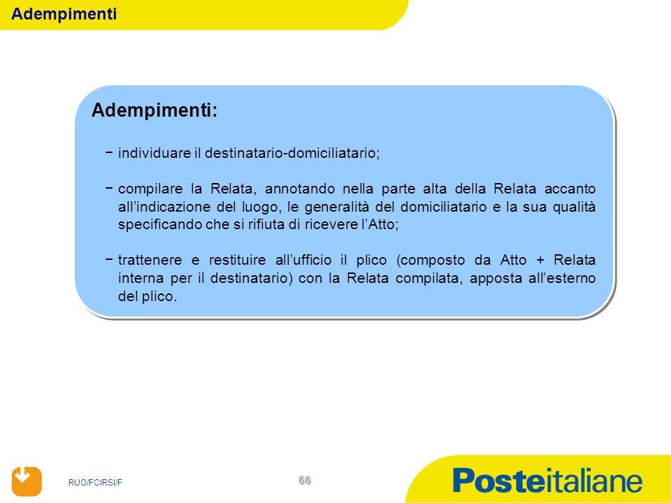 RUO/FCIRSI/F 66 Adempimenti: individuare il destinatario-domiciliatario; compilare la Relata, annotando nella parte alta della Relata accanto allindic