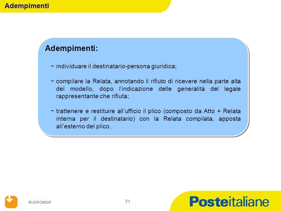 RUO/FCIRSI/F 71 Adempimenti: individuare il destinatario-persona giuridica; compilare la Relata, annotando il rifiuto di ricevere nella parte alta del