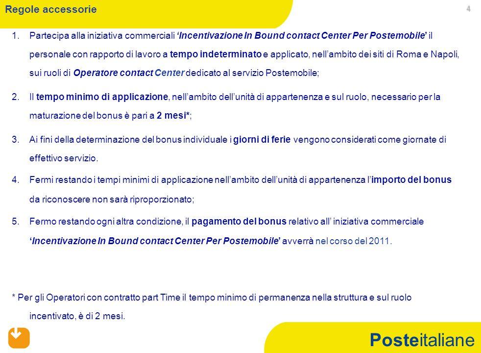 Posteitaliane 4 1. 1.Partecipa alla iniziativa commerciali Incentivazione In Bound contact Center Per Postemobile il personale con rapporto di lavoro