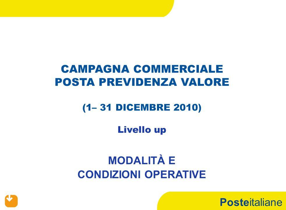 Posteitaliane CAMPAGNA COMMERCIALE POSTA PREVIDENZA VALORE (1– 31 DICEMBRE 2010) Livello up MODALITÀ E CONDIZIONI OPERATIVE