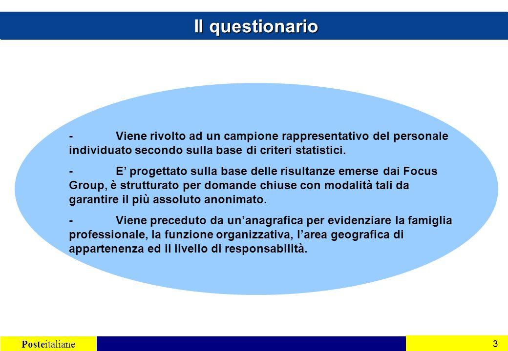 Posteitaliane 3 - Viene rivolto ad un campione rappresentativo del personale individuato secondo sulla base di criteri statistici.