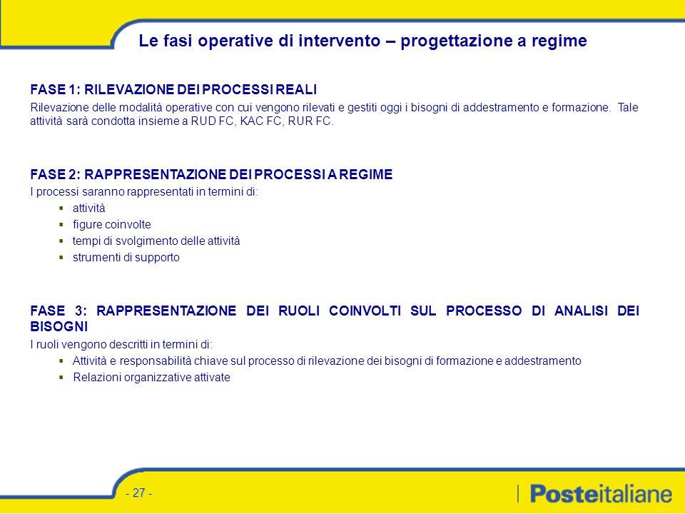 - 26 - FASE 1: RACCOLTA E ANALISI DATI Quantitativi: si tratta di informazioni strutturali rispetto ai diversi ruoli.