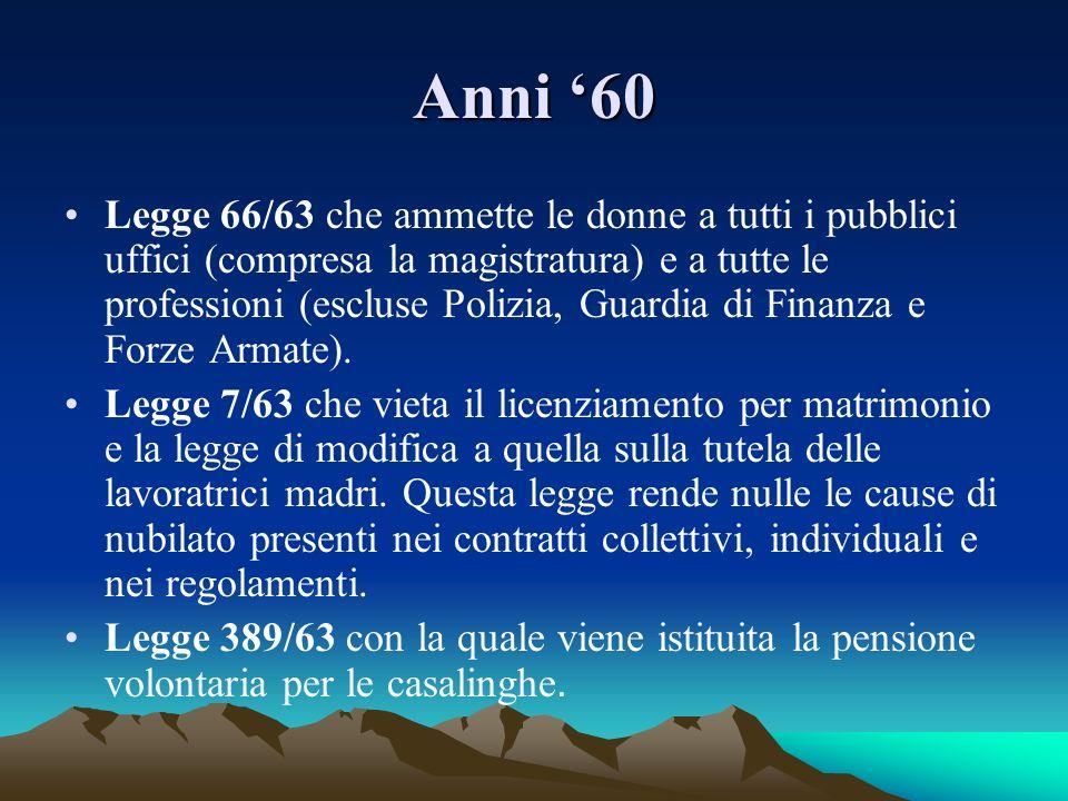 Anni 60 Legge 66/63 che ammette le donne a tutti i pubblici uffici (compresa la magistratura) e a tutte le professioni (escluse Polizia, Guardia di Fi