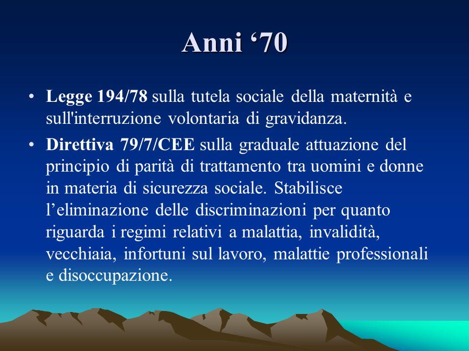 Anni 70 Legge 194/78 sulla tutela sociale della maternità e sull'interruzione volontaria di gravidanza. Direttiva 79/7/CEE sulla graduale attuazione d