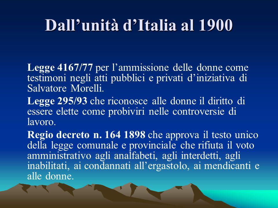 Dallunità dItalia al 1900 Legge 4167/77 per lammissione delle donne come testimoni negli atti pubblici e privati diniziativa di Salvatore Morelli. Leg