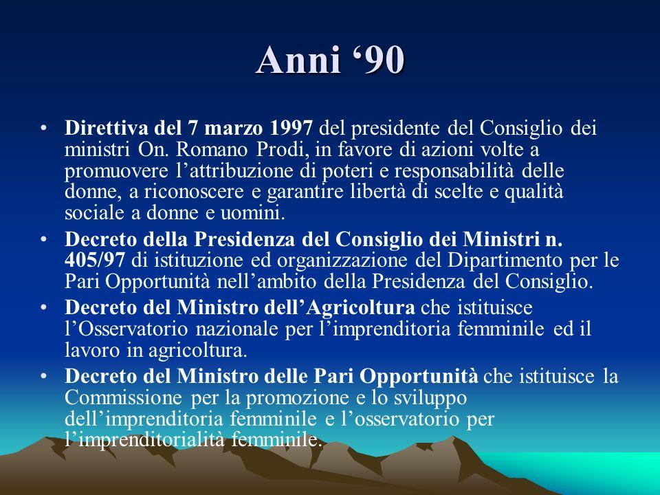 Anni 90 Direttiva del 7 marzo 1997 del presidente del Consiglio dei ministri On. Romano Prodi, in favore di azioni volte a promuovere lattribuzione di