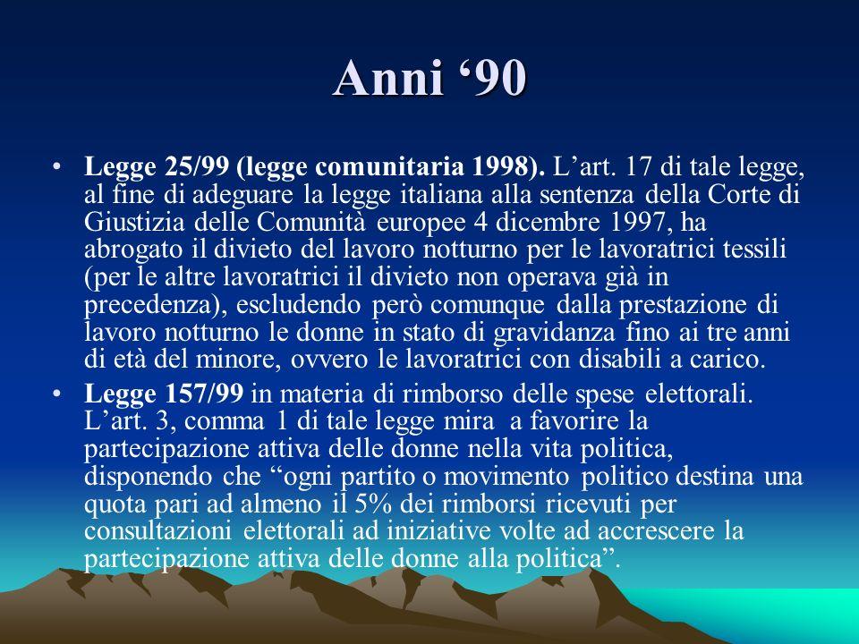 Anni 90 Legge 25/99 (legge comunitaria 1998). Lart. 17 di tale legge, al fine di adeguare la legge italiana alla sentenza della Corte di Giustizia del