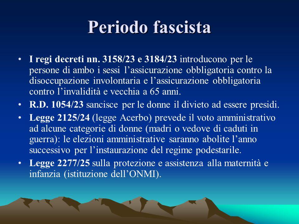 Periodo fascista I regi decreti nn. 3158/23 e 3184/23 introducono per le persone di ambo i sessi lassicurazione obbligatoria contro la disoccupazione
