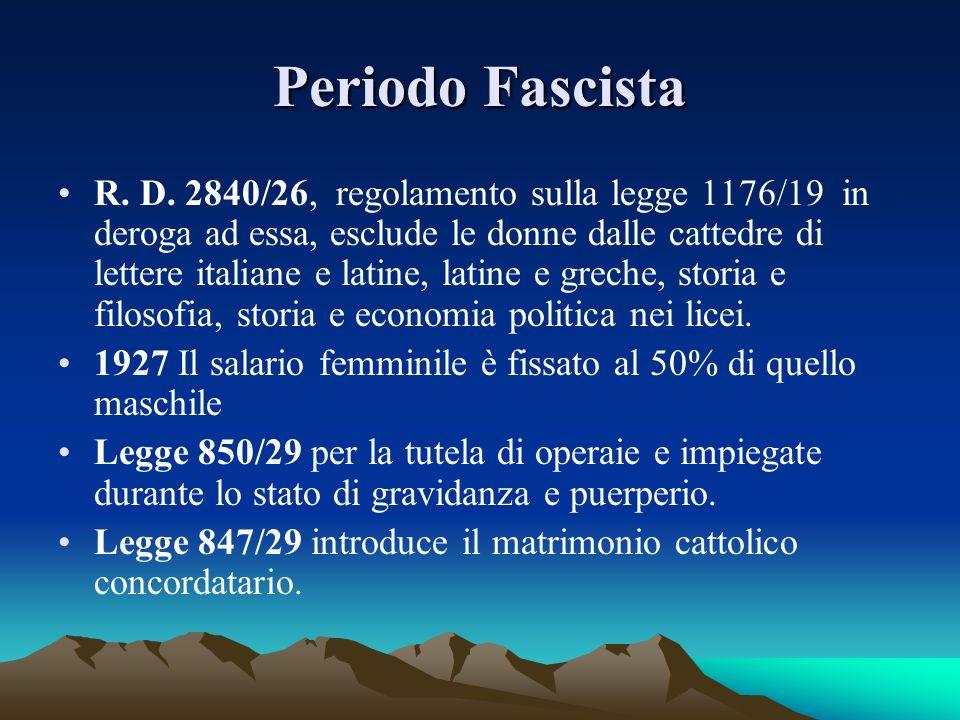 Periodo Fascista R. D. 2840/26, regolamento sulla legge 1176/19 in deroga ad essa, esclude le donne dalle cattedre di lettere italiane e latine, latin