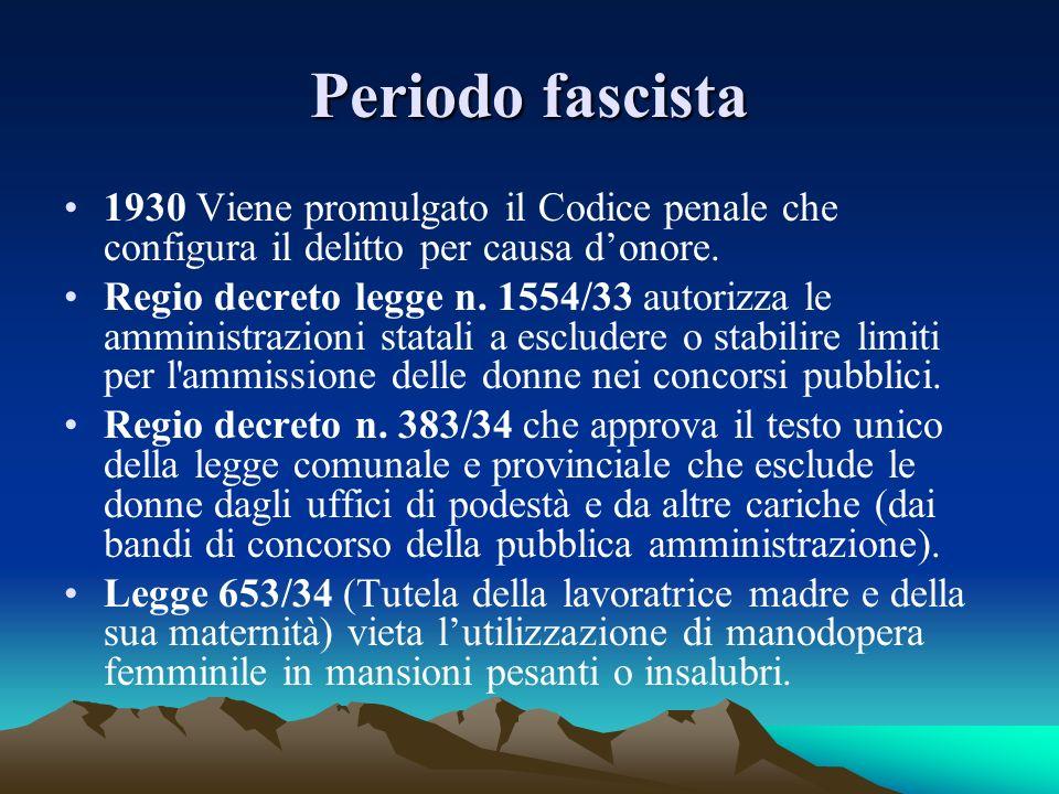 Periodo fascista Legge 1347/34 (Tutela della lavoratrice madre e della sua maternità) istituisce il congedo di maternità obbligatorio coperto da sussidio e obbligo per le aziende con più di 50 dipendenti di disporre camere per lallattamento.