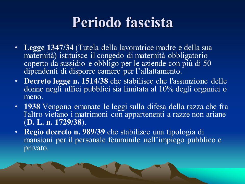 Periodo fascista Legge 1347/34 (Tutela della lavoratrice madre e della sua maternità) istituisce il congedo di maternità obbligatorio coperto da sussi