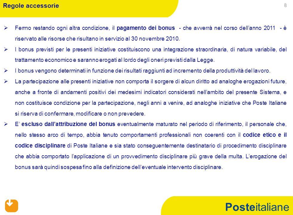 Posteitaliane 8 Fermo restando ogni altra condizione, il pagamento dei bonus - che avverrà nel corso dellanno 2011 - è riservato alle risorse che risultano in servizio al 30 novembre 2010.