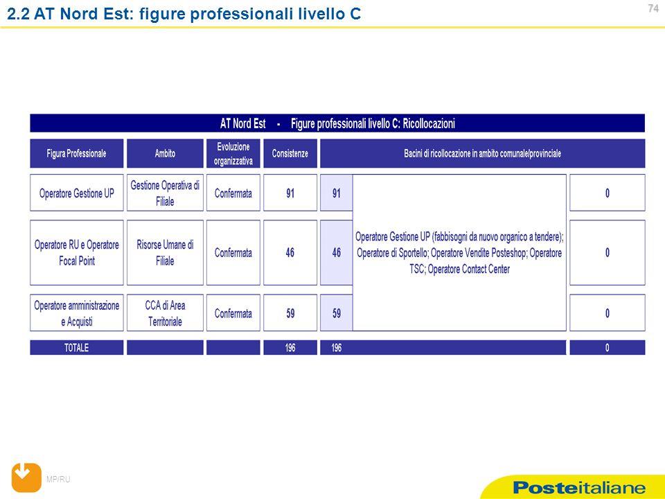 MP/RU 74 74 2.2 AT Nord Est: figure professionali livello C