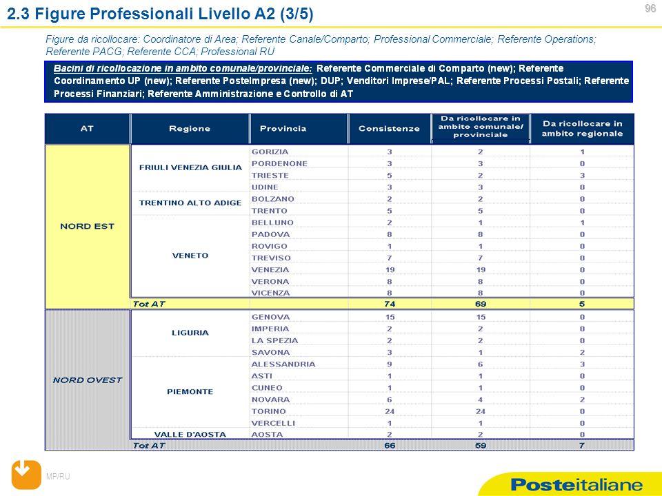 MP/RU 96 96 2.3 Figure Professionali Livello A2 (3/5) Figure da ricollocare: Coordinatore di Area; Referente Canale/Comparto; Professional Commerciale; Referente Operations; Referente PACG; Referente CCA; Professional RU