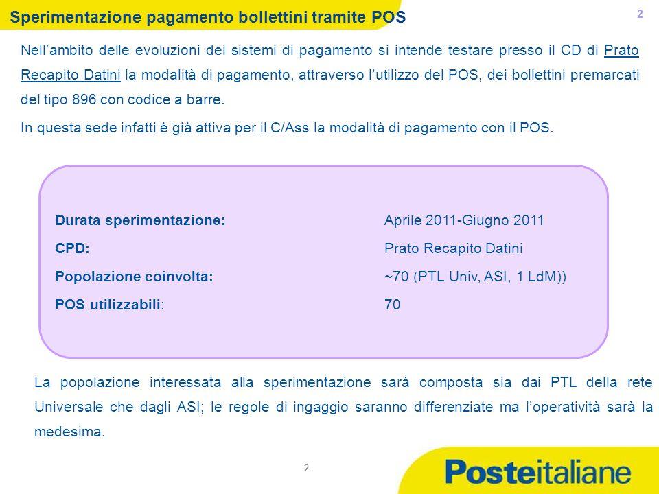 05/02/2014 2 Durata sperimentazione:Aprile 2011-Giugno 2011 CPD: Prato Recapito Datini Popolazione coinvolta: ~70 (PTL Univ, ASI, 1 LdM)) POS utilizza