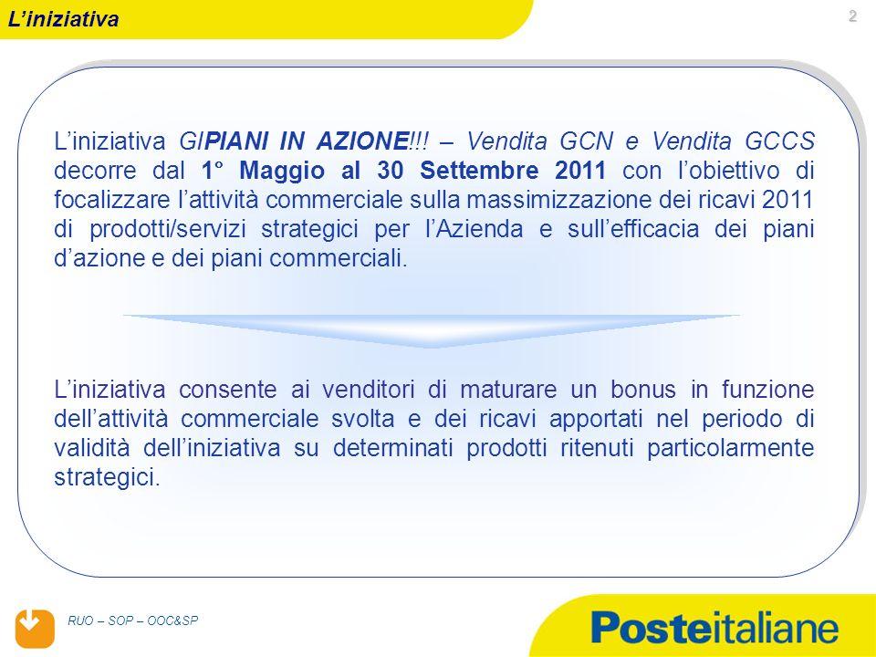 05/02/2014 RUO – SOP – OOC&SP 2 Liniziativa Liniziativa GIPIANI IN AZIONE!!! – Vendita GCN e Vendita GCCS decorre dal 1° Maggio al 30 Settembre 2011 c
