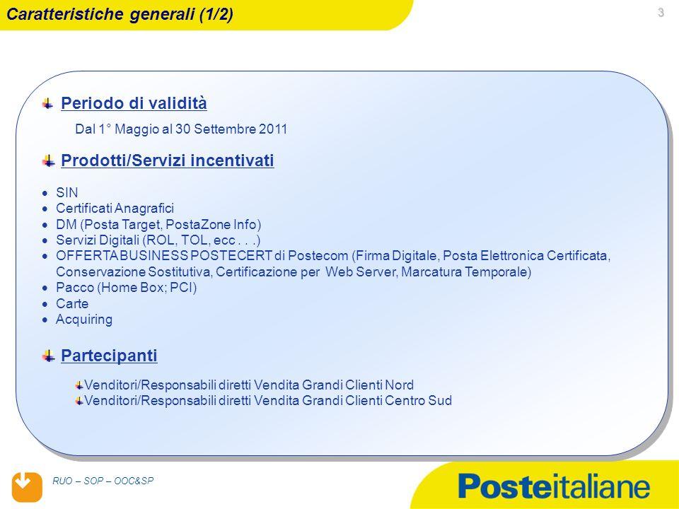 05/02/2014 RUO – SOP – OOC&SP 3 Periodo di validità Dal 1° Maggio al 30 Settembre 2011 Prodotti/Servizi incentivati SIN Certificati Anagrafici DM (Posta Target, PostaZone Info) Servizi Digitali (ROL, TOL, ecc...) OFFERTA BUSINESS POSTECERT di Postecom (Firma Digitale, Posta Elettronica Certificata, Conservazione Sostitutiva, Certificazione per Web Server, Marcatura Temporale) Pacco (Home Box; PCI) Carte Acquiring Partecipanti Venditori/Responsabili diretti Vendita Grandi Clienti Nord Venditori/Responsabili diretti Vendita Grandi Clienti Centro Sud Periodo di validità Dal 1° Maggio al 30 Settembre 2011 Prodotti/Servizi incentivati SIN Certificati Anagrafici DM (Posta Target, PostaZone Info) Servizi Digitali (ROL, TOL, ecc...) OFFERTA BUSINESS POSTECERT di Postecom (Firma Digitale, Posta Elettronica Certificata, Conservazione Sostitutiva, Certificazione per Web Server, Marcatura Temporale) Pacco (Home Box; PCI) Carte Acquiring Partecipanti Venditori/Responsabili diretti Vendita Grandi Clienti Nord Venditori/Responsabili diretti Vendita Grandi Clienti Centro Sud Caratteristiche generali (1/2)