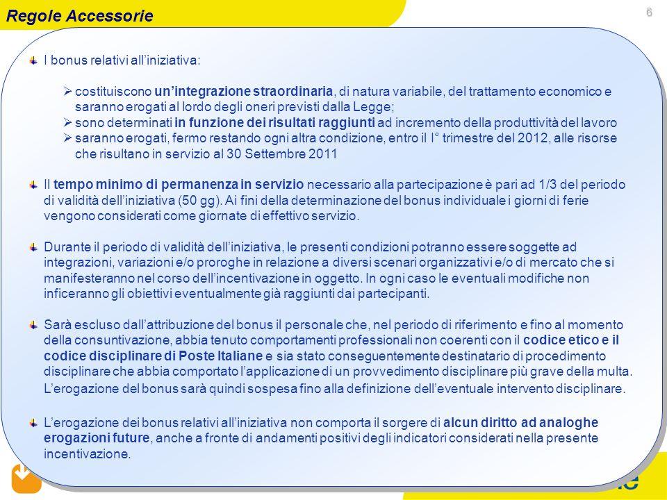 05/02/2014 RUO – SOP – OOC&SP 6 I bonus relativi alliniziativa: costituiscono unintegrazione straordinaria, di natura variabile, del trattamento econo