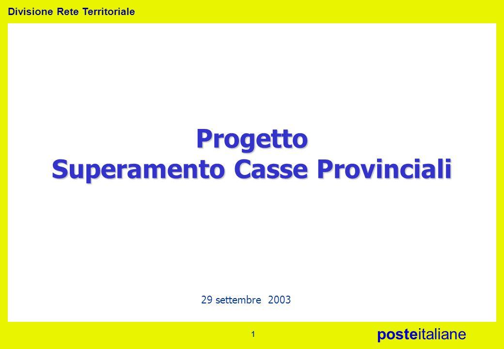 Divisione Rete Territoriale posteitaliane 1 29 settembre 2003 Progetto Superamento Casse Provinciali