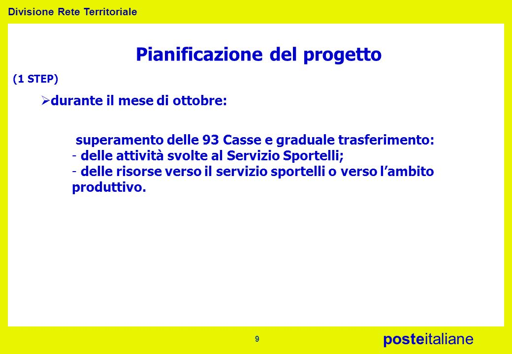 Divisione Rete Territoriale posteitaliane 9 Pianificazione del progetto (1 STEP) durante il mese di ottobre: superamento delle 93 Casse e graduale tra