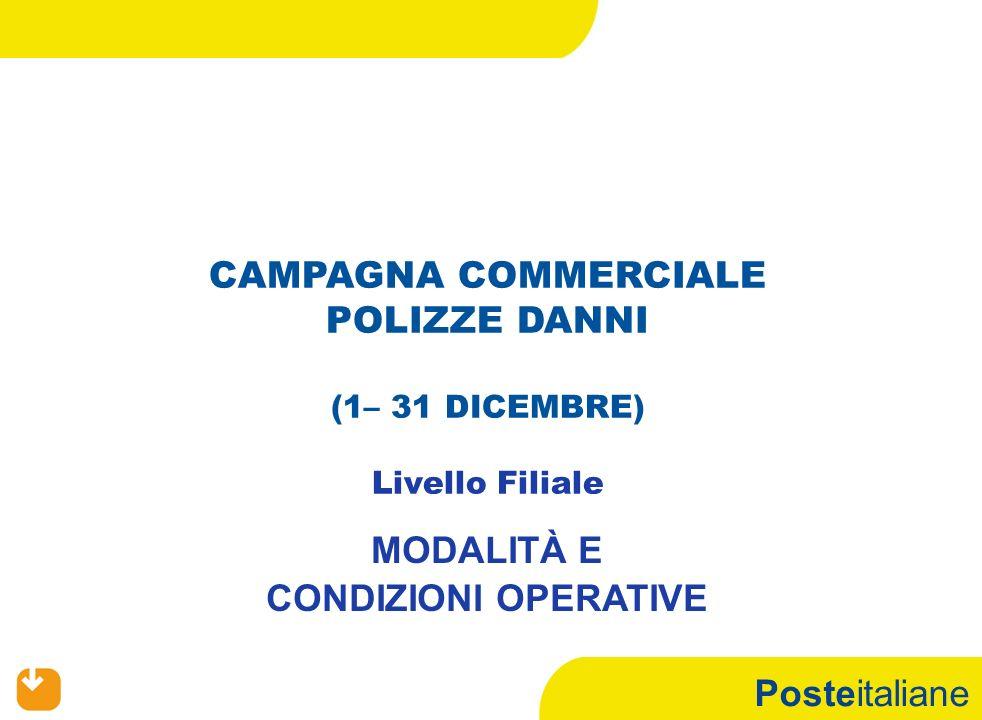 Posteitaliane CAMPAGNA COMMERCIALE POLIZZE DANNI (1– 31 DICEMBRE) Livello Filiale MODALITÀ E CONDIZIONI OPERATIVE