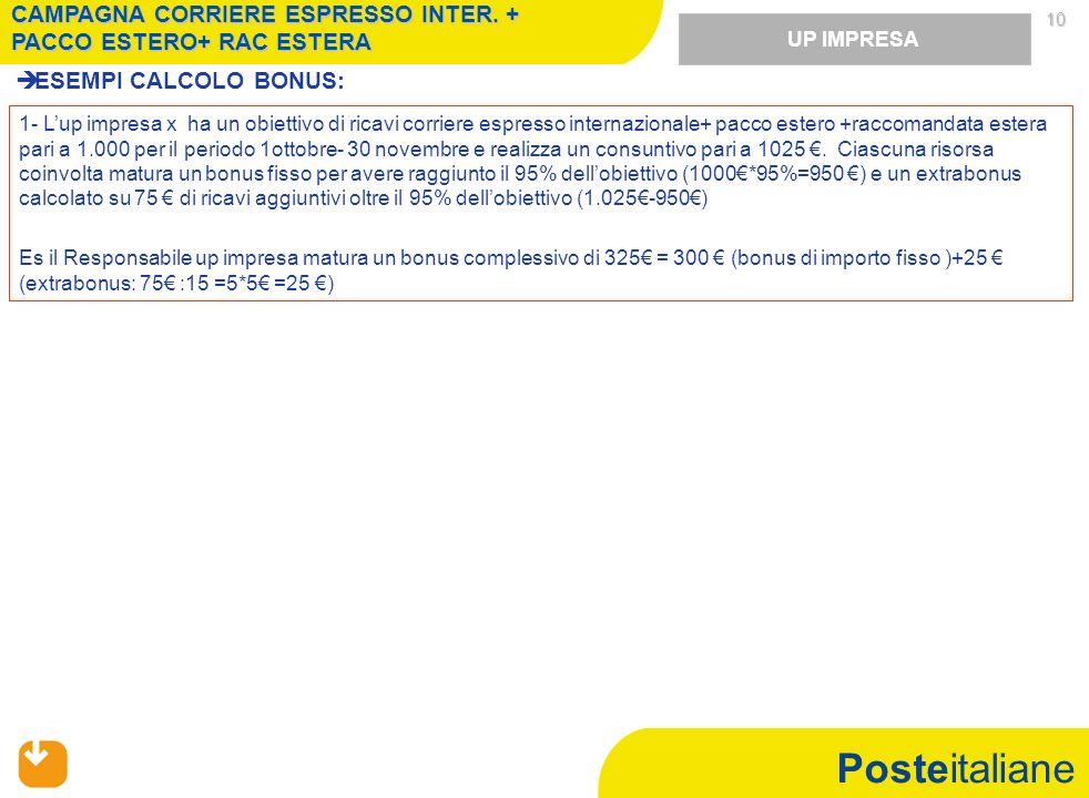 Posteitaliane 10 ESEMPI CALCOLO BONUS: UP IMPRESA 1- Lup impresa x ha un obiettivo di ricavi corriere espresso internazionale+ pacco estero +raccomandata estera pari a 1.000 per il periodo 1ottobre- 30 novembre e realizza un consuntivo pari a 1025.
