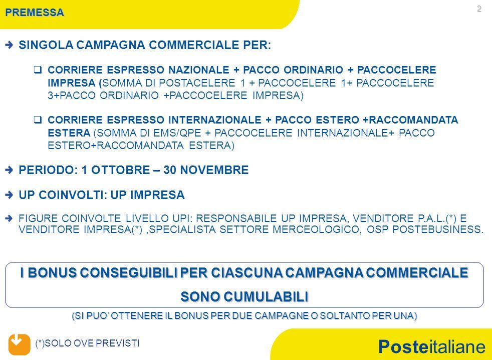 Posteitaliane 2 PREMESSA SINGOLA CAMPAGNA COMMERCIALE PER: CORRIERE ESPRESSO NAZIONALE + PACCO ORDINARIO + PACCOCELERE IMPRESA (SOMMA DI POSTACELERE 1 + PACCOCELERE 1+ PACCOCELERE 3+PACCO ORDINARIO +PACCOCELERE IMPRESA) CORRIERE ESPRESSO INTERNAZIONALE + PACCO ESTERO +RACCOMANDATA ESTERA (SOMMA DI EMS/QPE + PACCOCELERE INTERNAZIONALE+ PACCO ESTERO+RACCOMANDATA ESTERA) PERIODO: 1 OTTOBRE – 30 NOVEMBRE UP COINVOLTI: UP IMPRESA FIGURE COINVOLTE LIVELLO UPI: RESPONSABILE UP IMPRESA, VENDITORE P.A.L.(*) E VENDITORE IMPRESA(*),SPECIALISTA SETTORE MERCEOLOGICO, OSP POSTEBUSINESS.