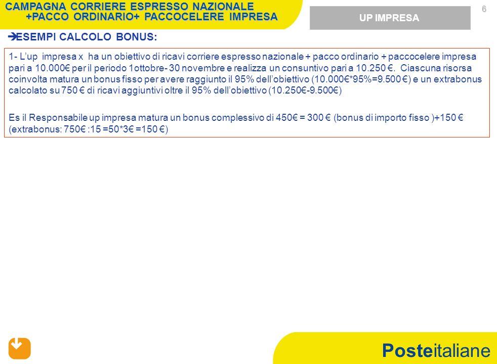 Posteitaliane 6 ESEMPI CALCOLO BONUS: UP IMPRESA 1- Lup impresa x ha un obiettivo di ricavi corriere espresso nazionale + pacco ordinario + paccocelere impresa pari a 10.000 per il periodo 1ottobre- 30 novembre e realizza un consuntivo pari a 10.250.