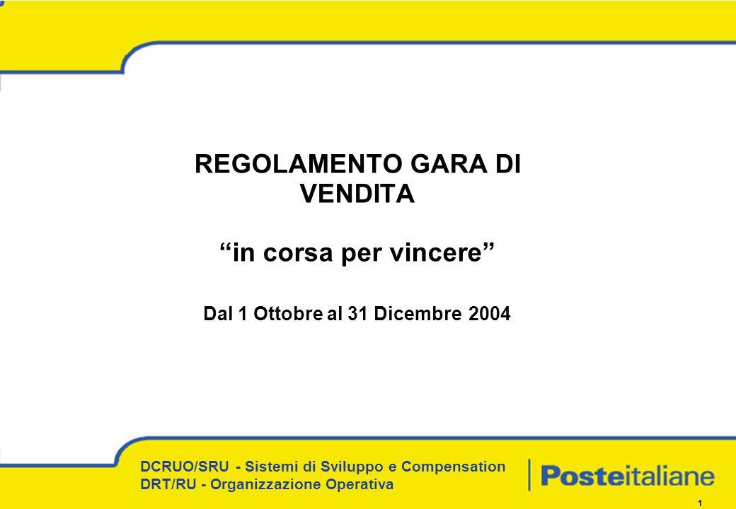 DCRUO/SRU - Sistemi di Sviluppo e Compensation DRT/RU - Organizzazione Operativa 1 REGOLAMENTO GARA DI VENDITA in corsa per vincere Dal 1 Ottobre al 31 Dicembre 2004