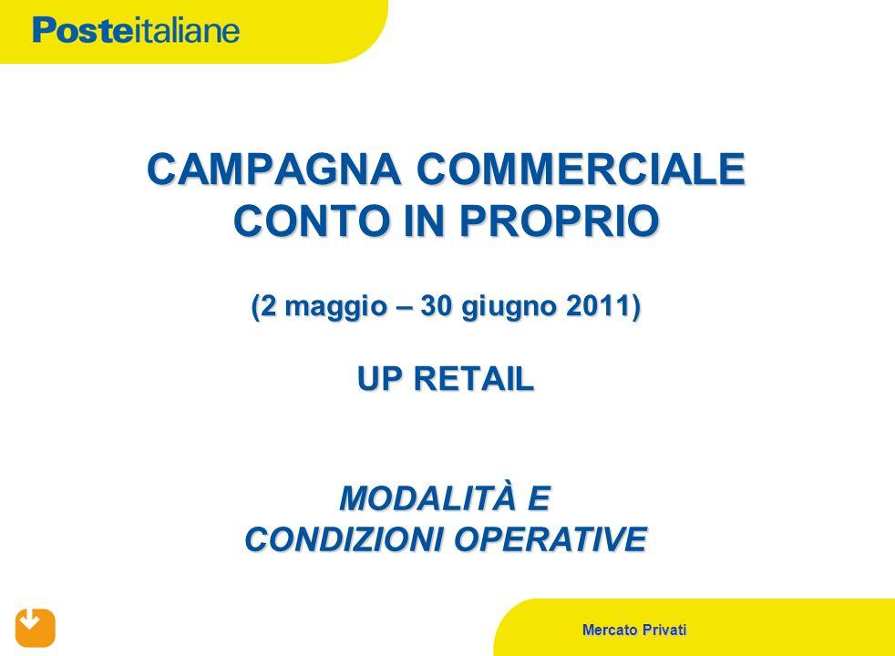 Mercato Privati CAMPAGNA COMMERCIALE CONTO IN PROPRIO (2 maggio – 30 giugno 2011) UP RETAIL MODALITÀ E CONDIZIONI OPERATIVE