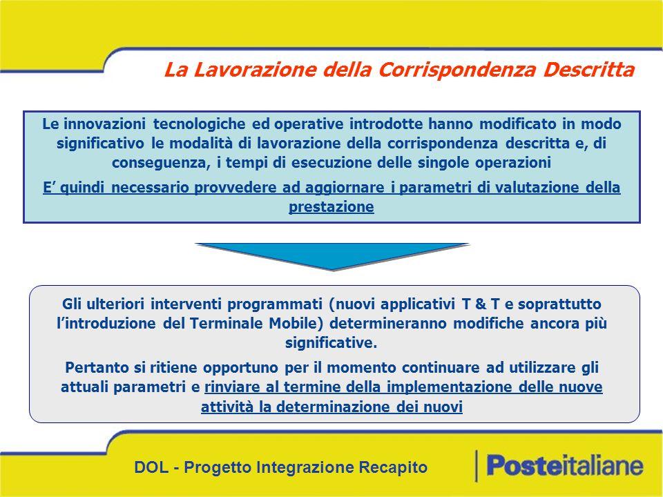 DOL - Progetto Integrazione Recapito Le innovazioni tecnologiche ed operative introdotte hanno modificato in modo significativo le modalità di lavoraz