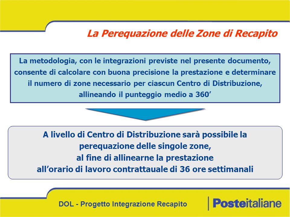 DOL - Progetto Integrazione Recapito La metodologia, con le integrazioni previste nel presente documento, consente di calcolare con buona precisione l