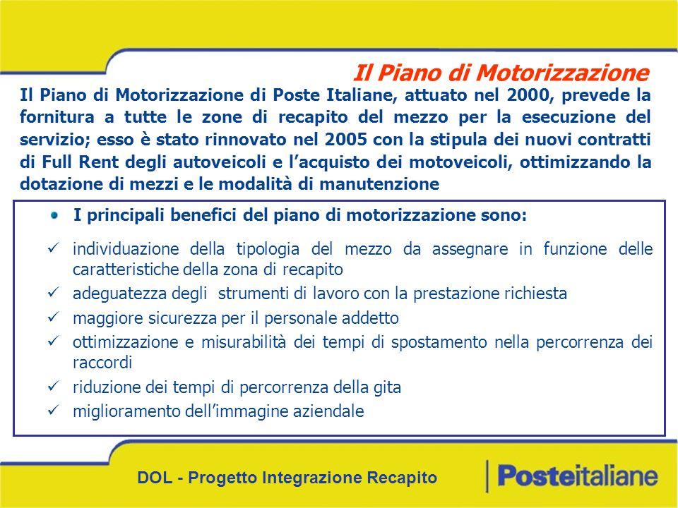 DOL - Progetto Integrazione Recapito Il Piano di Motorizzazione di Poste Italiane, attuato nel 2000, prevede la fornitura a tutte le zone di recapito del mezzo per la esecuzione del servizio; esso è stato rinnovato nel 2005 con la stipula dei nuovi contratti di Full Rent degli autoveicoli e lacquisto dei motoveicoli, ottimizzando la dotazione di mezzi e le modalità di manutenzione I principali benefici del piano di motorizzazione sono: individuazione della tipologia del mezzo da assegnare in funzione delle caratteristiche della zona di recapito adeguatezza degli strumenti di lavoro con la prestazione richiesta maggiore sicurezza per il personale addetto ottimizzazione e misurabilità dei tempi di spostamento nella percorrenza dei raccordi riduzione dei tempi di percorrenza della gita miglioramento dellimmagine aziendale Il Piano di Motorizzazione