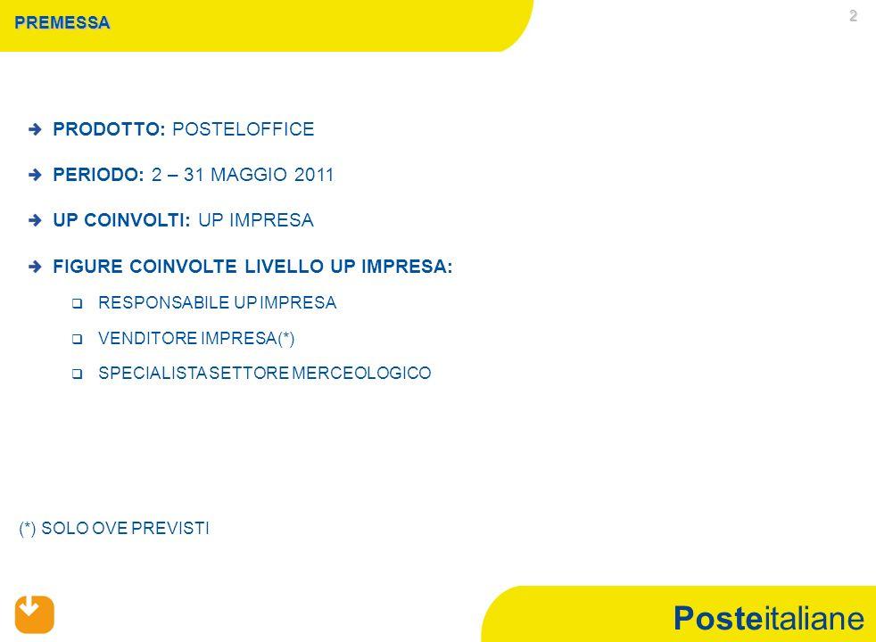 Posteitaliane 2 PREMESSA (*) SOLO OVE PREVISTI PRODOTTO: POSTELOFFICE PERIODO: 2 – 31 MAGGIO 2011 UP COINVOLTI: UP IMPRESA FIGURE COINVOLTE LIVELLO UP