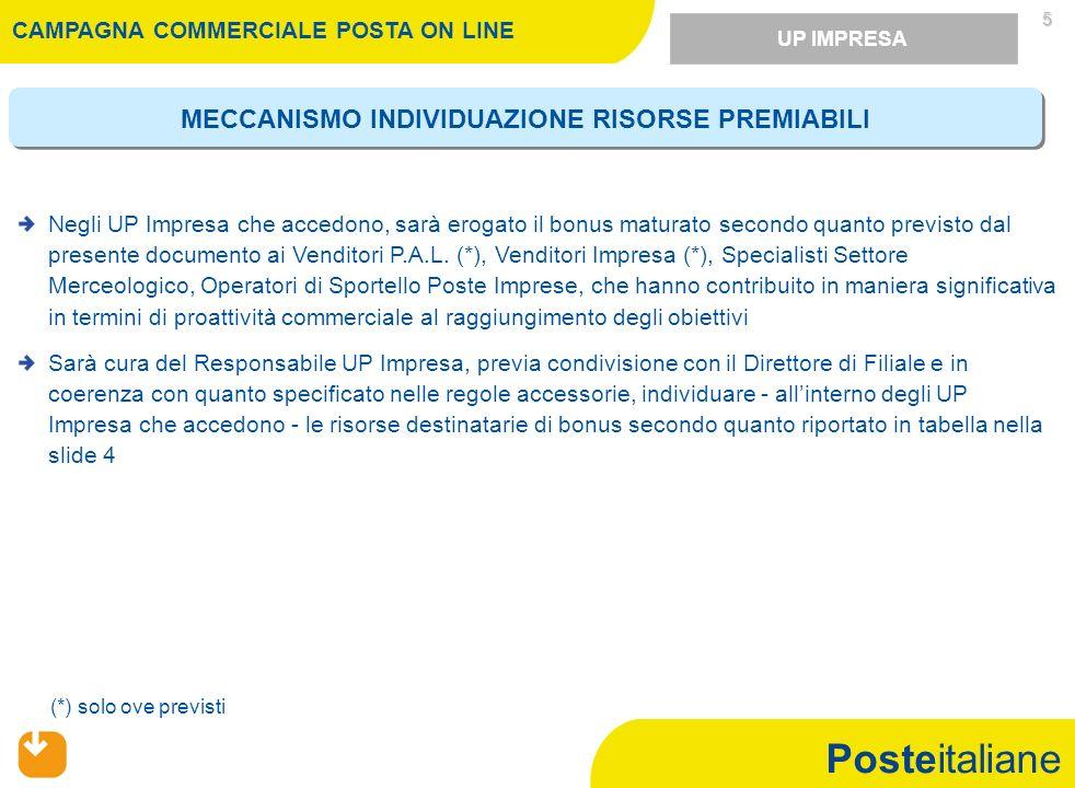 Posteitaliane 1)Partecipa alliniziativa commerciale Campagna Posta On Line (12 settembre – 12 novembre 2011) il personale con rapporto di lavoro a tempo indeterminato e applicato, nellambito dellunità di appartenenza, sui ruoli coinvolti nel presente sistema di incentivazione.