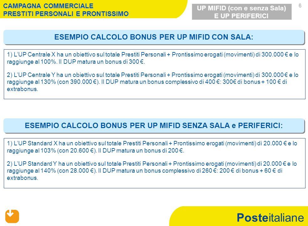 Posteitaliane 6 ESEMPIO CALCOLO BONUS PER UP MIFID CON SALA: 1) LUP Centrale X ha un obiettivo sul totale Prestiti Personali + Prontissimo erogati (movimenti) di 300.000 e lo raggiunge al 100%.