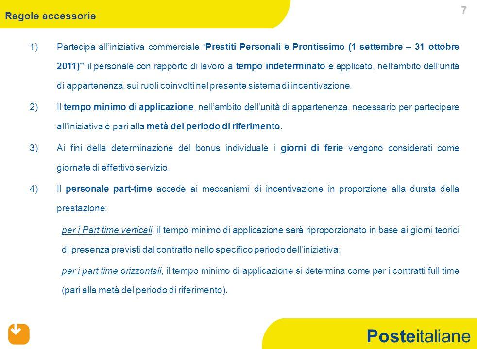 Posteitaliane 1)Partecipa alliniziativa commerciale Prestiti Personali e Prontissimo (1 settembre – 31 ottobre 2011) il personale con rapporto di lavoro a tempo indeterminato e applicato, nellambito dellunità di appartenenza, sui ruoli coinvolti nel presente sistema di incentivazione.
